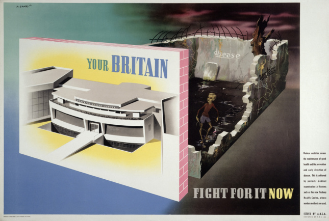 Image of poster by Abram Games titled Your Britain: Fight for it now Medical facilities available at a modern health centre contrasted with ill health in old-fashioned housing