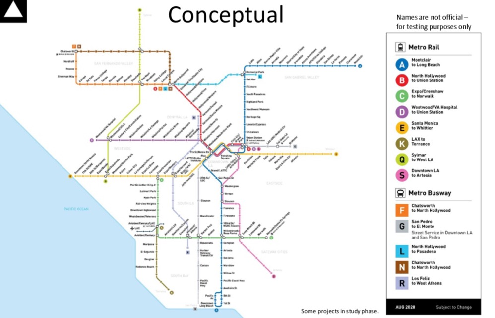 Diagram of proposal to rename Los Angeles's Metro lines