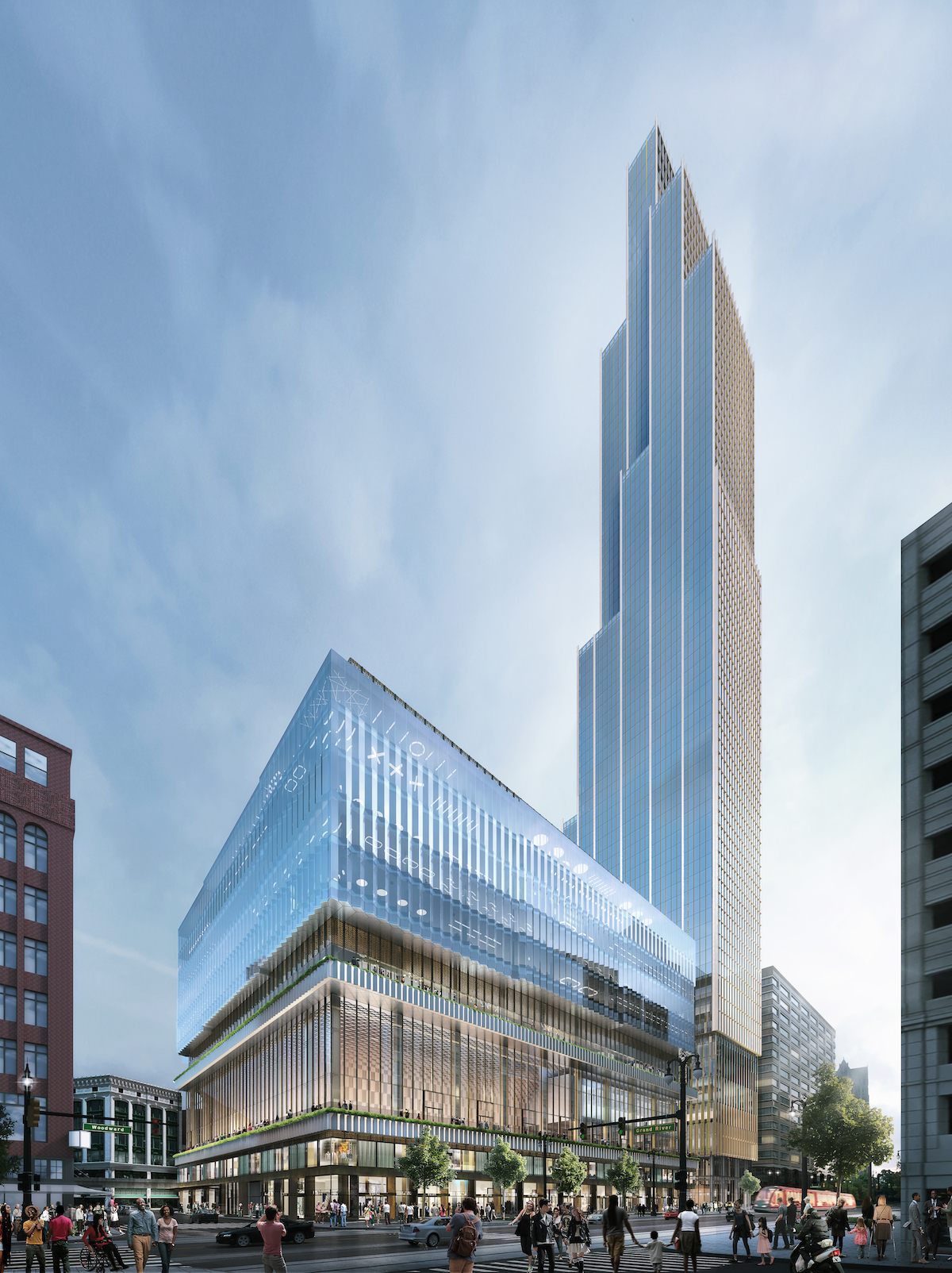 Rendering of the tower to rise at the former Hudson's department store site in Detroit