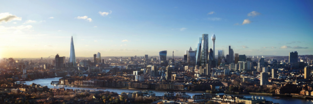 A panorama rendering showing where The Tulip would fit in among the rest of London.