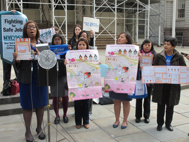 Photo of Adhikaar launches the Making Policy Public project Healthy Salons for All, at an April 2015 press conference with NY Healthy Nail Salons Coalition and Public Advocate Letitia James