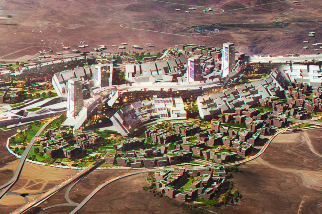 A rendering of Blockchains smart city in storey county nevada designed by Tom Wiscombe