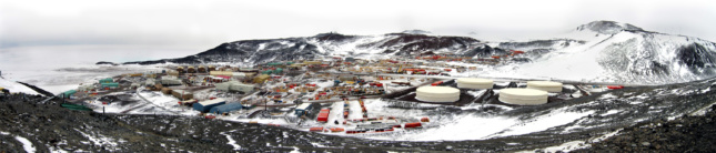 A panorama shot of the entire McMurdo Station.