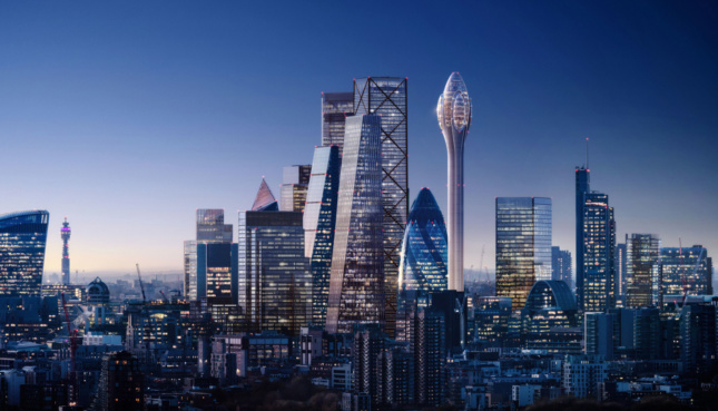 Rendering of The Tulip next to Central London's skyscrapers