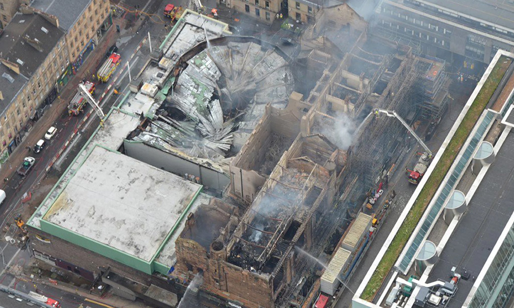 Aerial photo of the Mackintosh Building fire in June of 2018