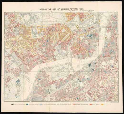 Descriptive map of London poverty, 1889, (south-western sheet), Charles Booth