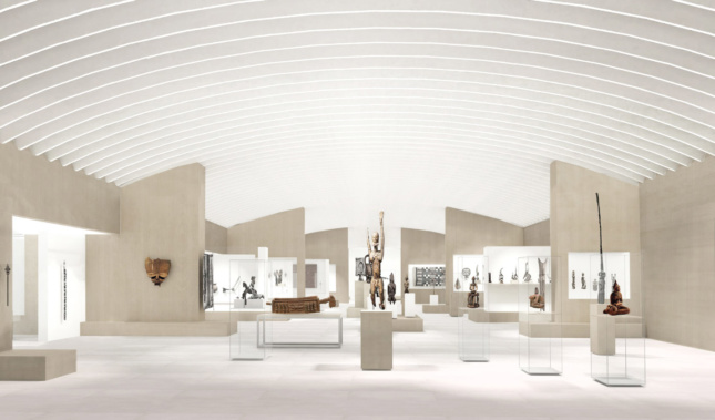 """White """"ribs"""" on the ceiling will help muffle sound as well as direct the """"flow"""" of each gallery."""