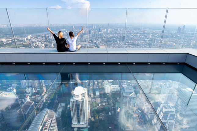 The glass-bottomed Skytray is open to the public and provides 360-degree views of Bangkok.
