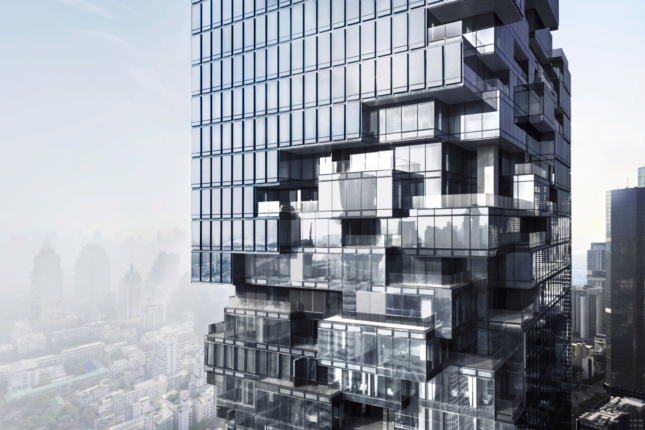 """When viewed close up, the """"erosive tear"""" wrapped around the building is revealed as a series of public setbacks and balconies."""