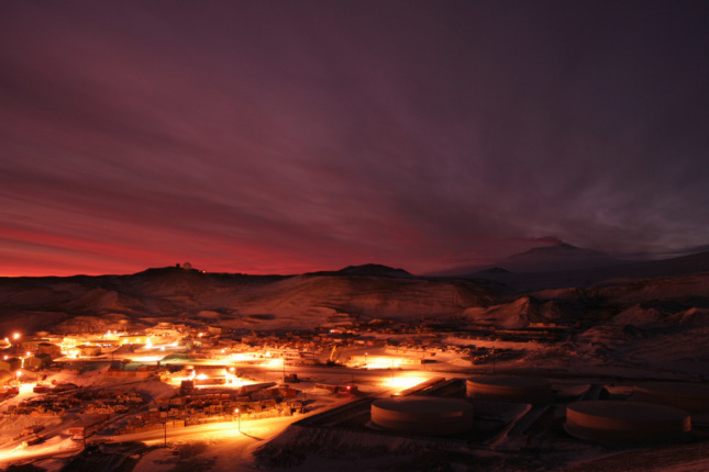 McMurdo Station during the winter, when the sun never rises above the horizon.