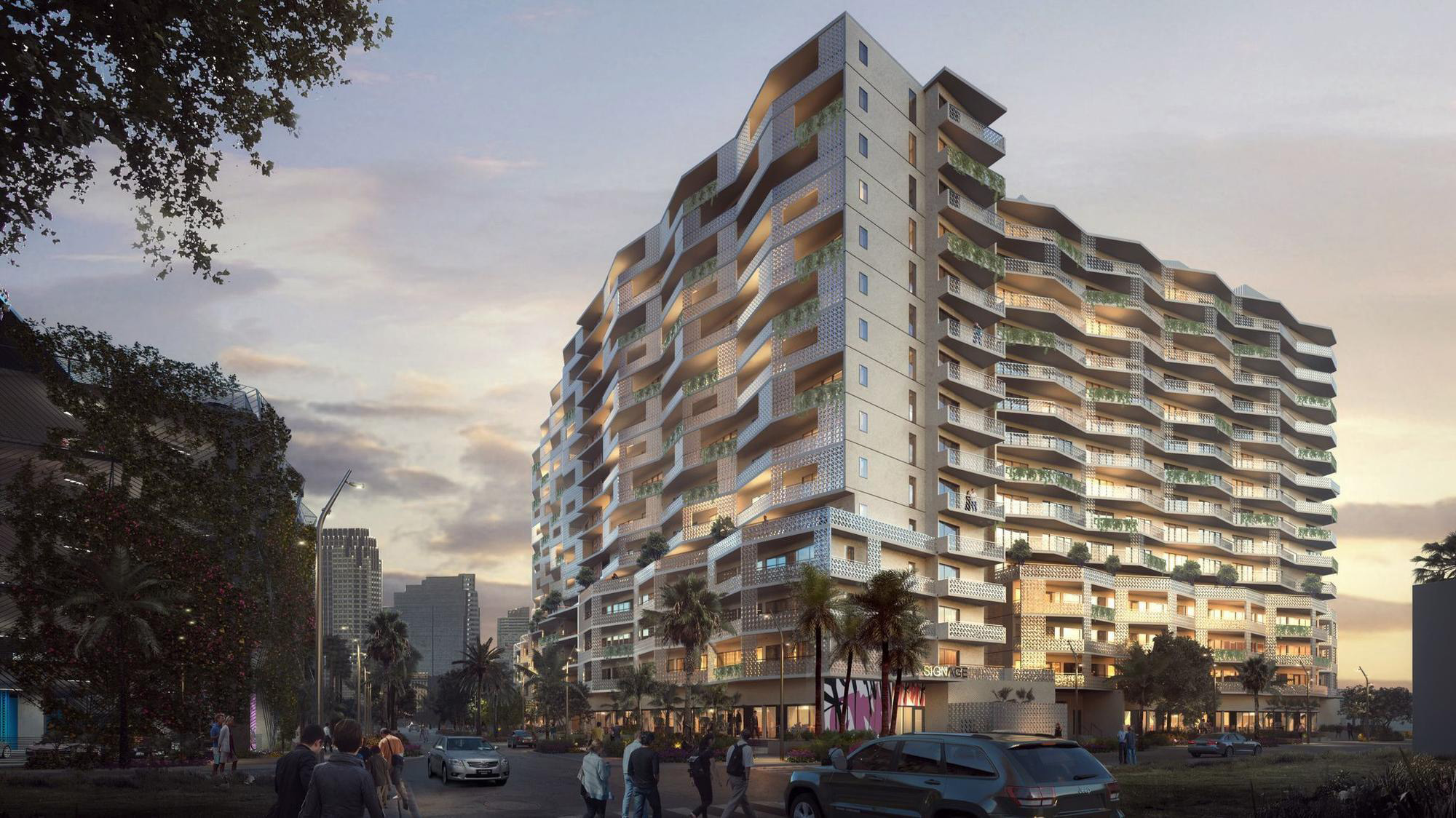 Rendering of ON3RD, the prefab affordable housing project designed by Glavovic Studio and supported by the AIDS Healthcare Foundation (AHF)