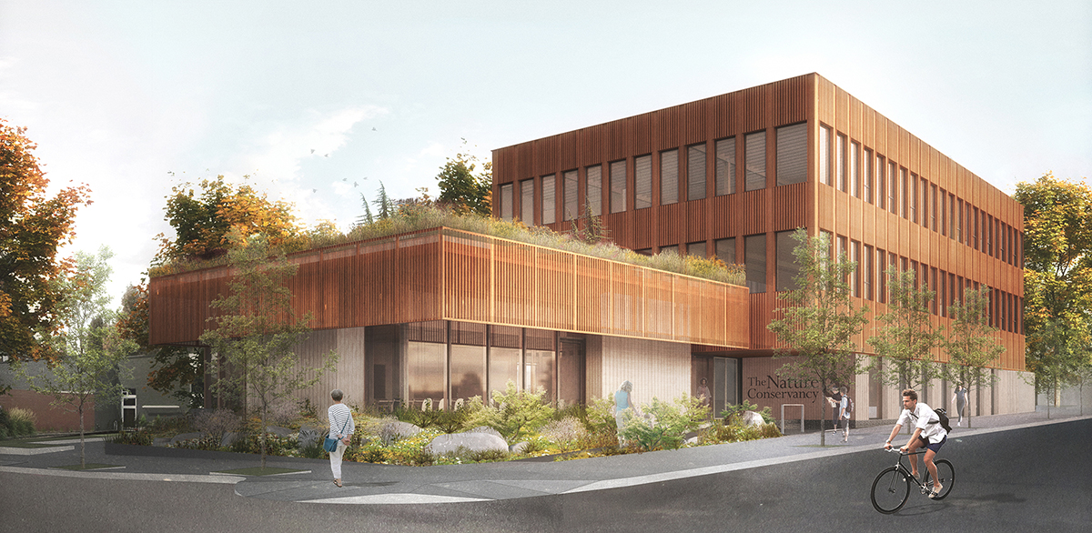 Rendering of Oregon Conservation Center by LEVER Architecture