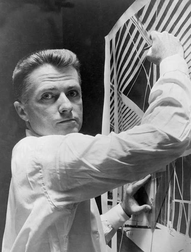 Photograph of Paul Rudolph working on the Umbrella House