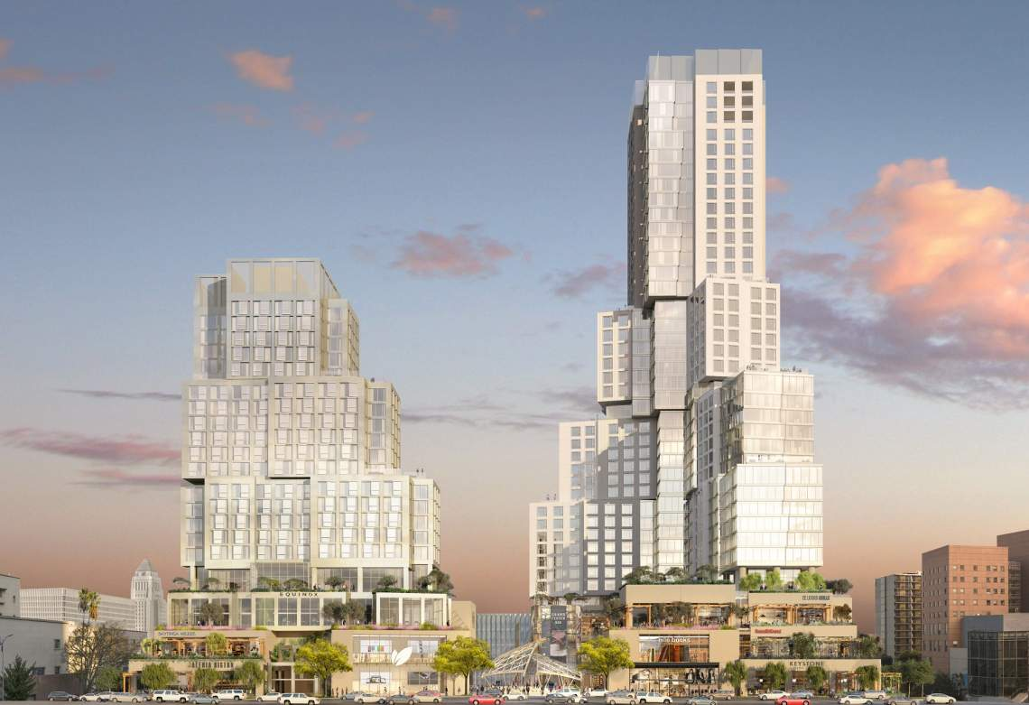 Rendering of The Grand towers designed by Gehry Partners