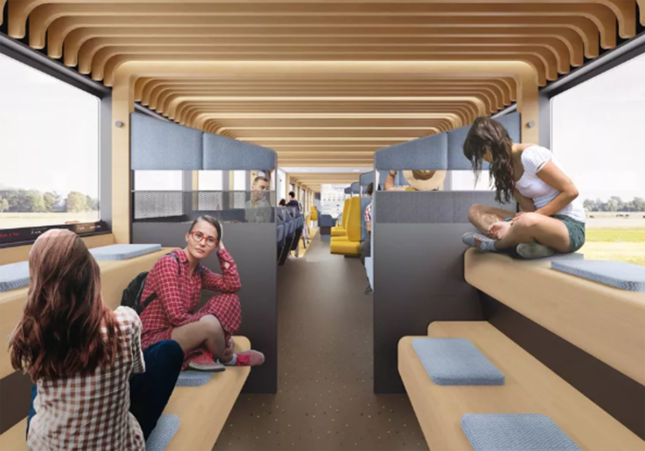 Rendering of the Dutch National Railway Company train concept designed by Mecanoo and Gispen