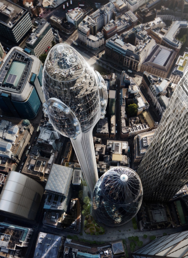 An overhead aerial rendering of The Tulip and the Gherkin.