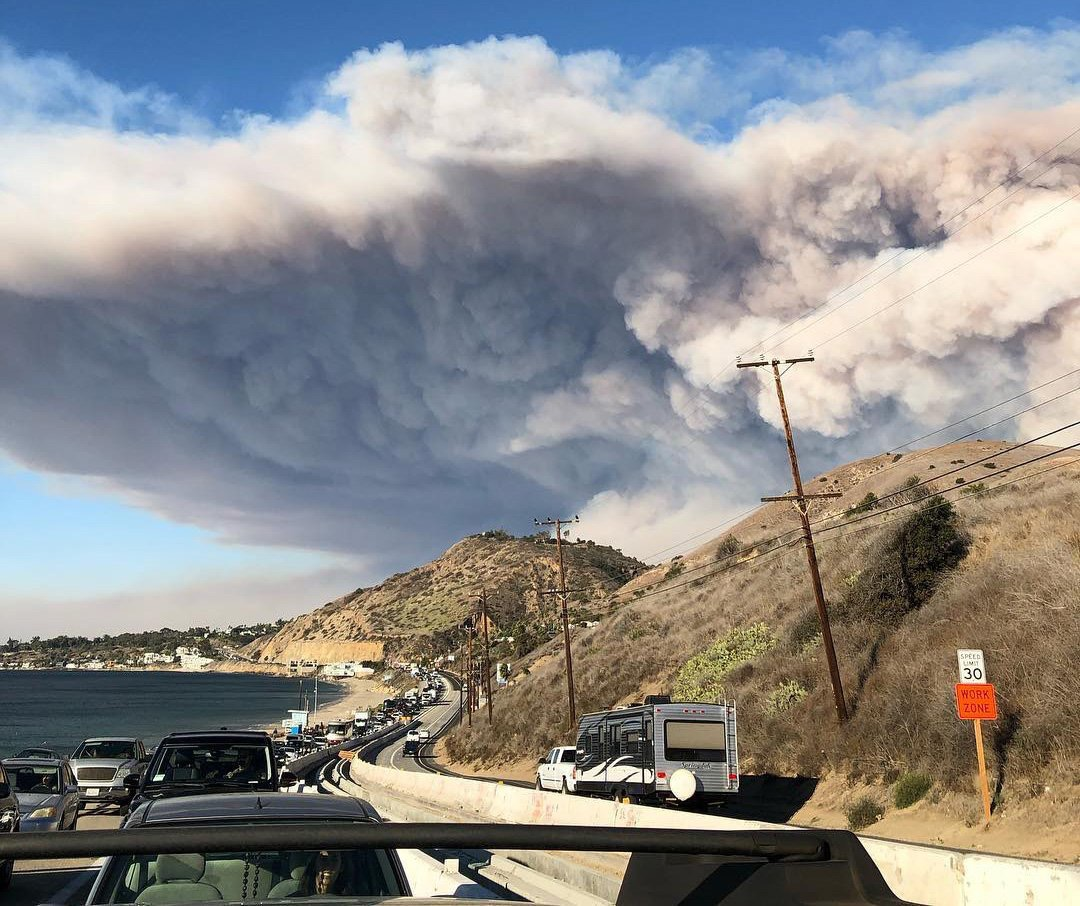 Residents evacuating from the Woolsey Fire on November 9 outside Los Angeles, including wealthy enclaves like Malibu.