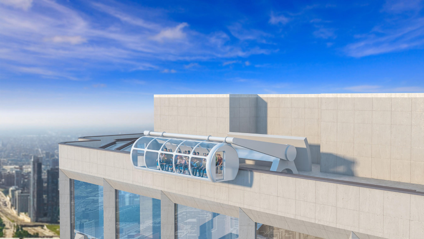 Rendering of the Aon Center's proposed rooftop observation center