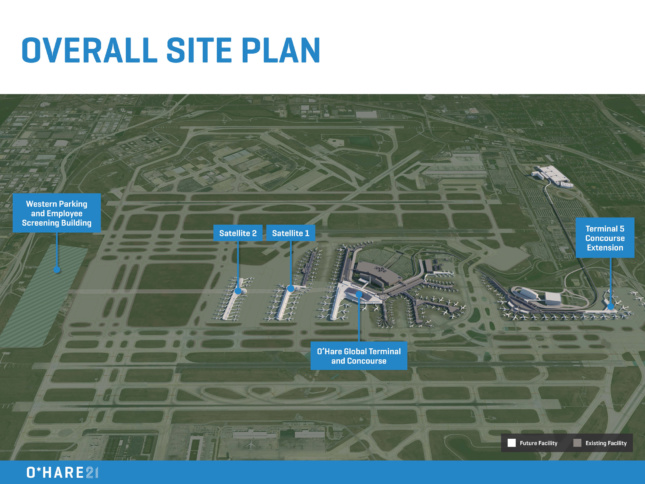 An aerial site plan showing how O'Hare 21 will alter the airport's footprint.