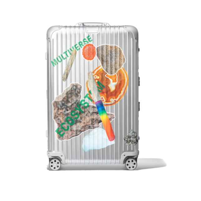 Photograph of Rimowa luggage with Olafur Eliasson stickers