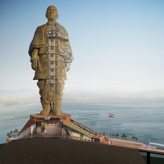 A cutaway rendering of the statue of unity
