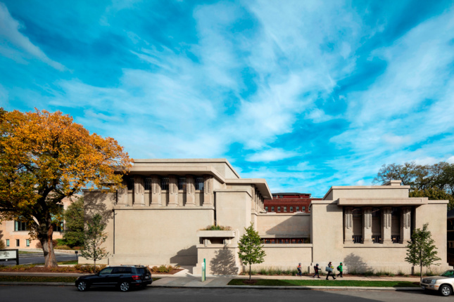 Photo of the restored Unity Temple designed by Frank Lloyd Wright