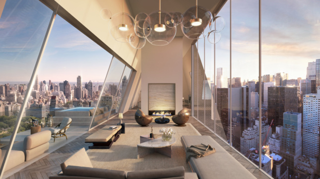 The 39th floor living room of 150 Central Park South