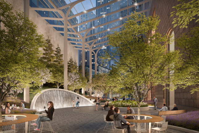 Snøhetta plans on replacing the retail space with a full garden and a waterfall (the design is likely to change).