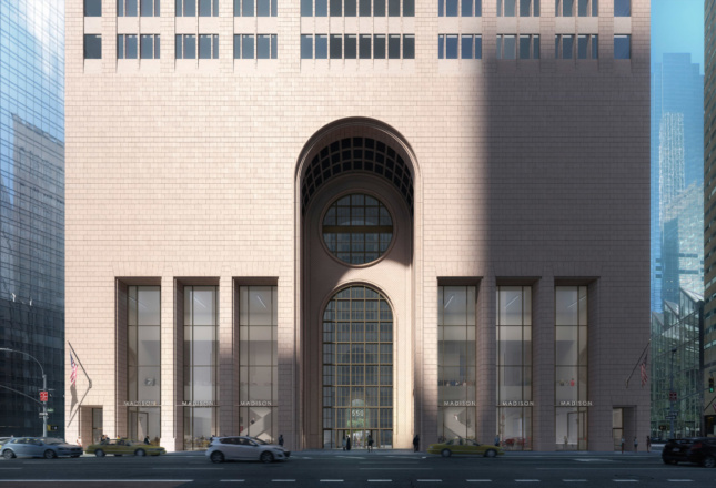 The latest rendering of 550 Madison's entrance by Snøhetta