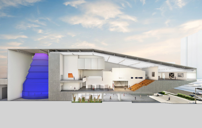"A cross-section of the BCF. Most of the building's ""heft"" has been pulled away from the ground level to create a cantilevering entrance lobby. James Turrell's Aten Reign can be seen towards the back."