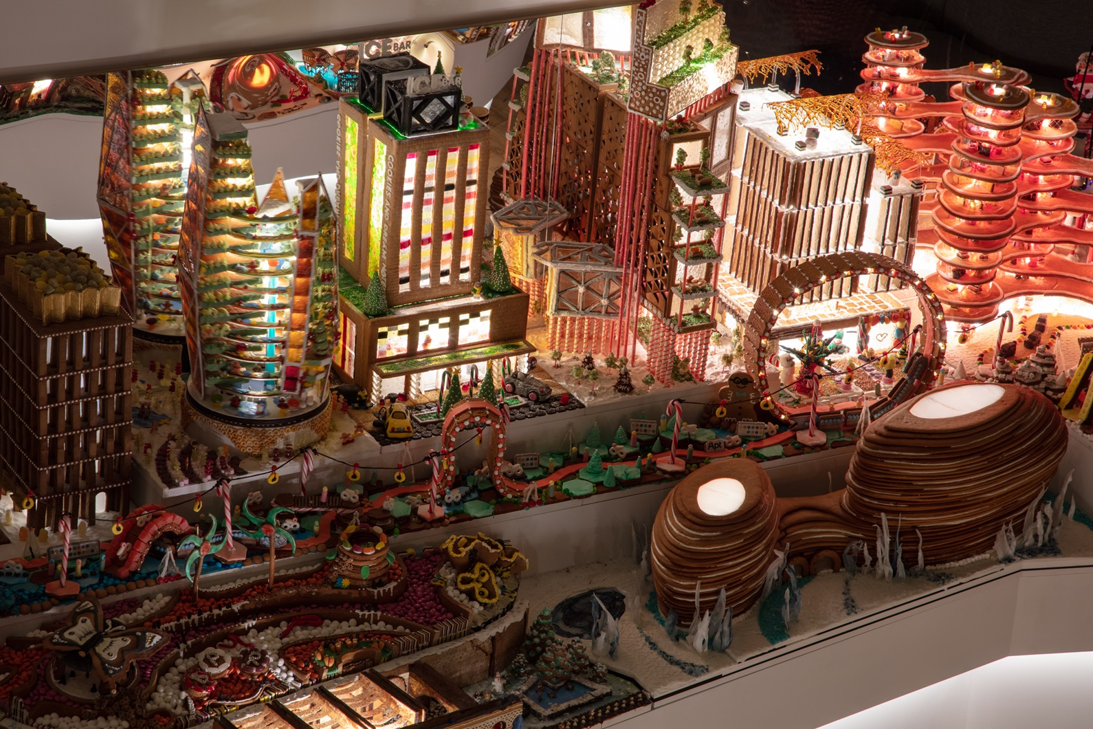 An overhead shot of the Gingerbread City, with ZHA's cookie concert hall at the bottom.