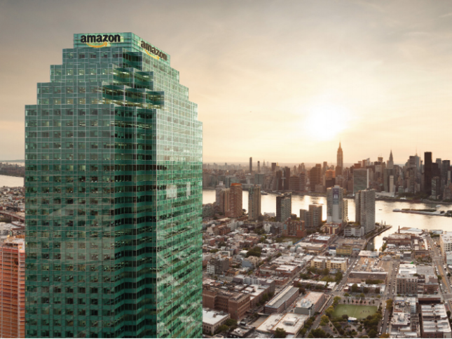 Rendering of One Court Square tower with an Amazon logo