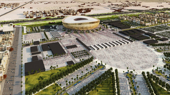 Foster + partners rendering of Lusail Iconic World Cup stadium