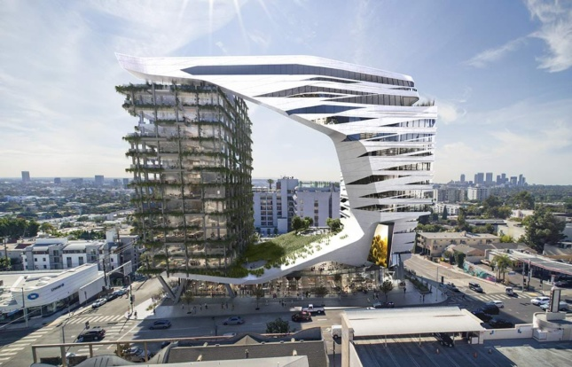 The cantilevering hotel proposal from Morphosis features a prominent central void.