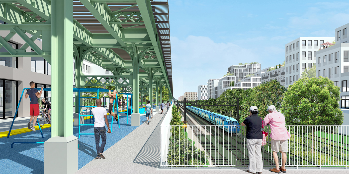 Rendering of Triboro Corridor by Only If and One Architecture & Urbanism