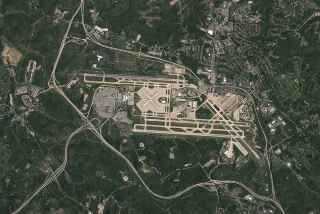 Aerial view of the Pittsburgh International Airport