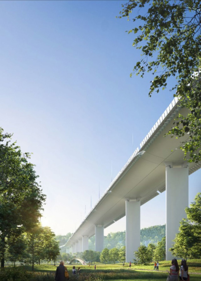 View of the new bridge from below.