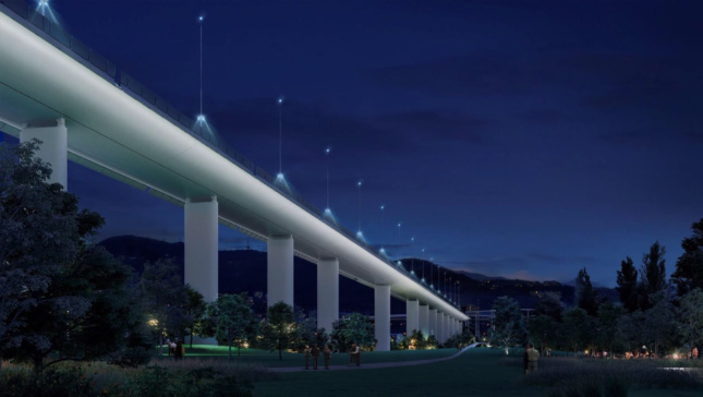 The new bridge will feature solar-powered lights.