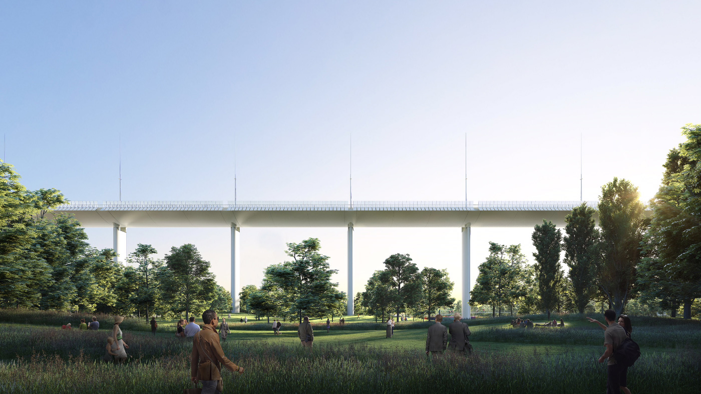 Rendering of the replacement Morandi Bridge in Genoa, Italy, by Renzo Piano Building Workshop