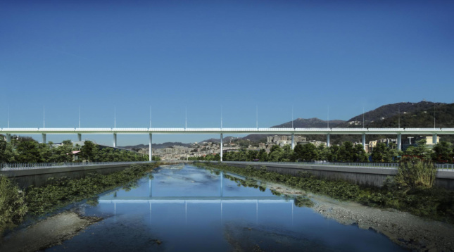 Two of the bridge's concrete piers will be spaced twice as far apart, to span the Polcevera River.