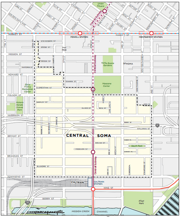 A map of the updated Central SoMa plan's boundaries.
