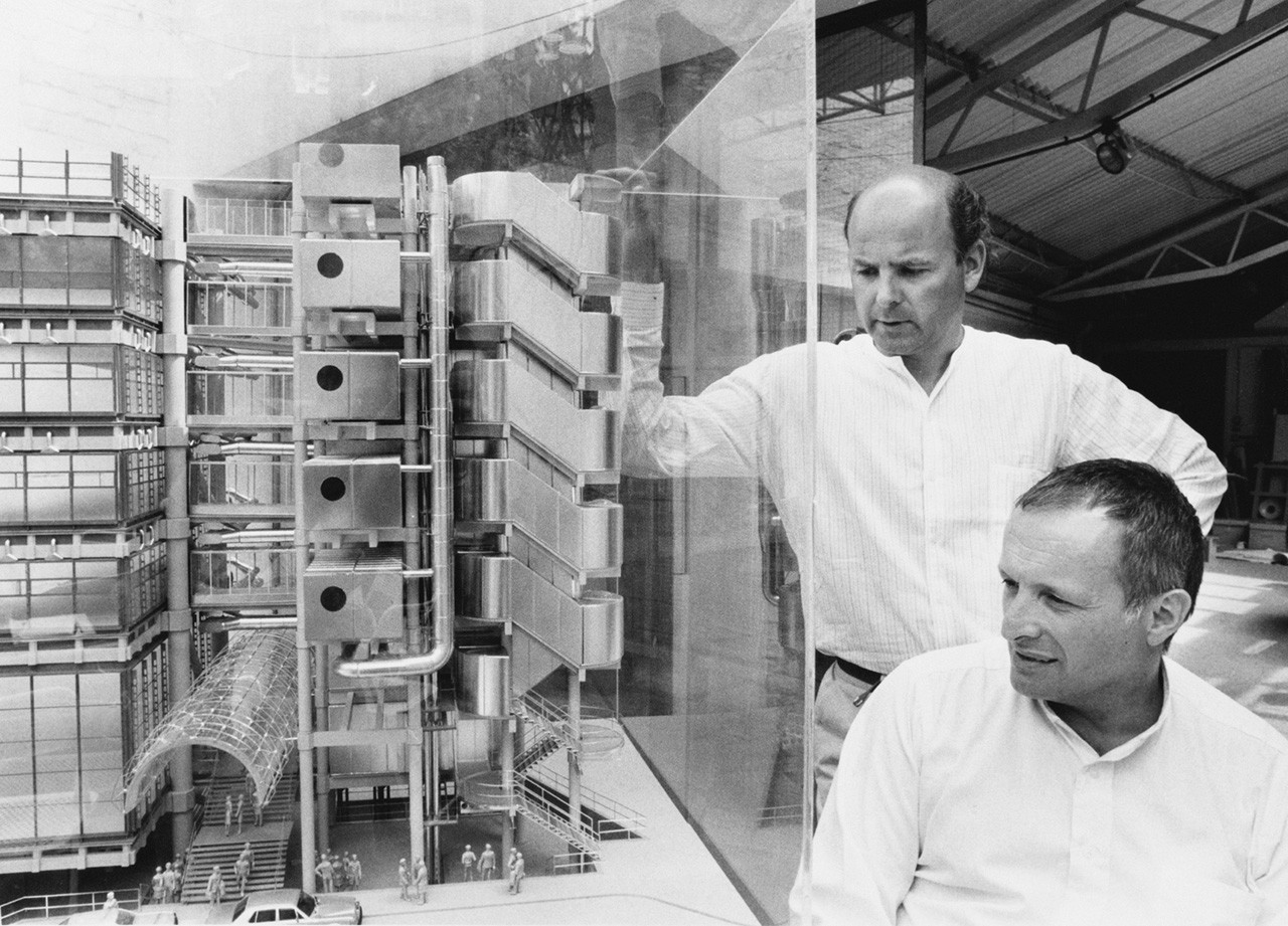 Richard Rogers looking at a model of the Centre Pompidou.