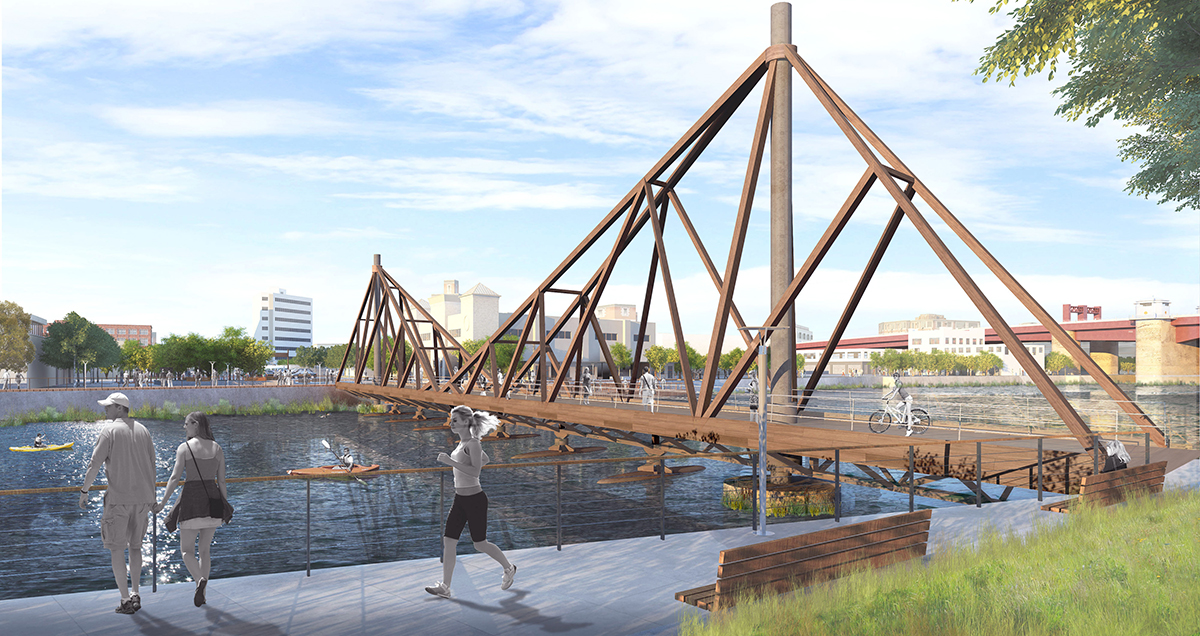 Rendering of CRÈME/Jun Aizaki Architecture & Design's LongPoint bridge