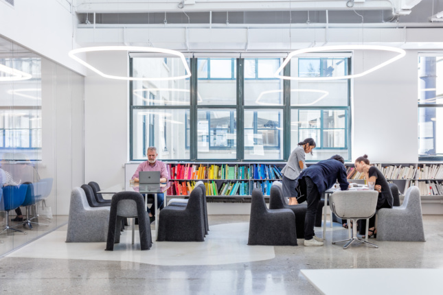 A color-coded library area.