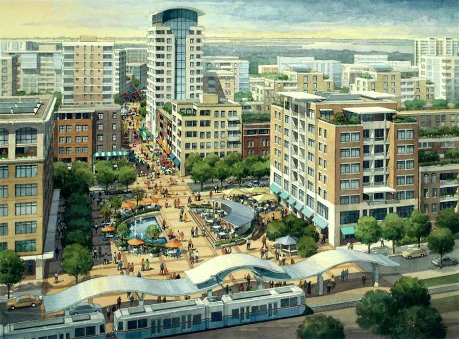 Watercolor painting of the Bayside Development