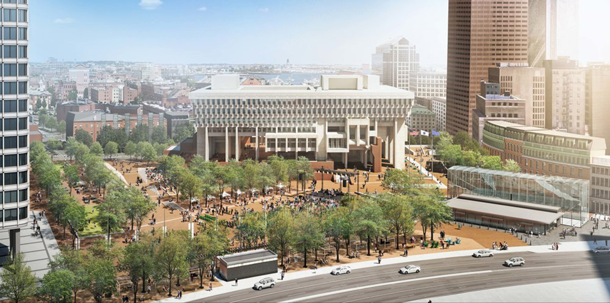 Rendering of Boston City Hall Courtesy Utile Architecture + Planning and Reed Hilderbrand Landscape Architects