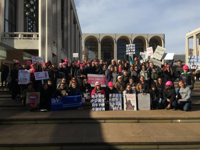 Architects pose together at the Women's March on NYC 2018. (Dattner Architect's Women's Group/Women Build Facebook)