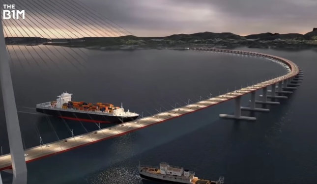 Rendering of a bridge over Norway's Bjornafjord
