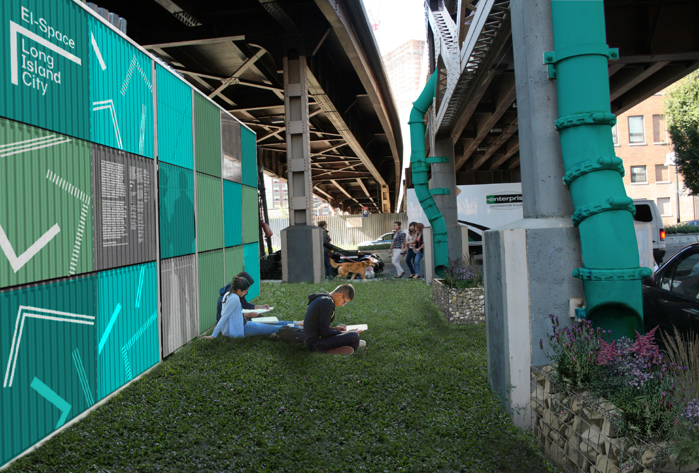 Rendering of a grass patch under elevated roadways