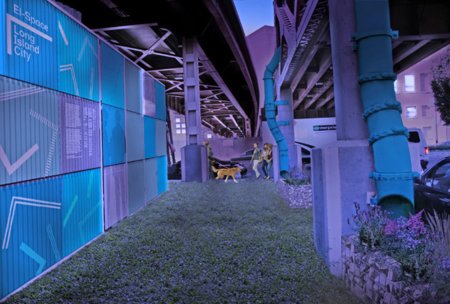 Rendering of a grass patch under elevated roadways at night